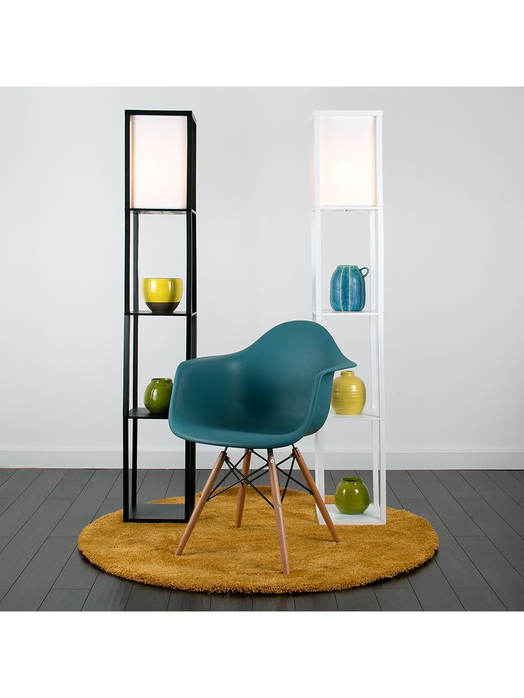 Wooden Shelving Unit Floor Lamp With Fabric Shade - Valuelights