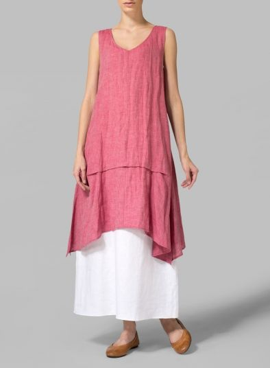 Brink Pink Linen Tiered Long A-Cut Blouse - Let your style fly free in this lovely flowing blouse. Exotic.