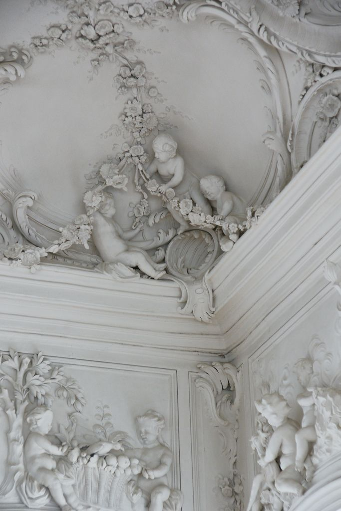 """Detail of """"White Hall"""" in the Rundale Palace, built (1736-1740),Latvia. Sculptures done by Johann Michael Graff 1765-1768 from Berlin."""