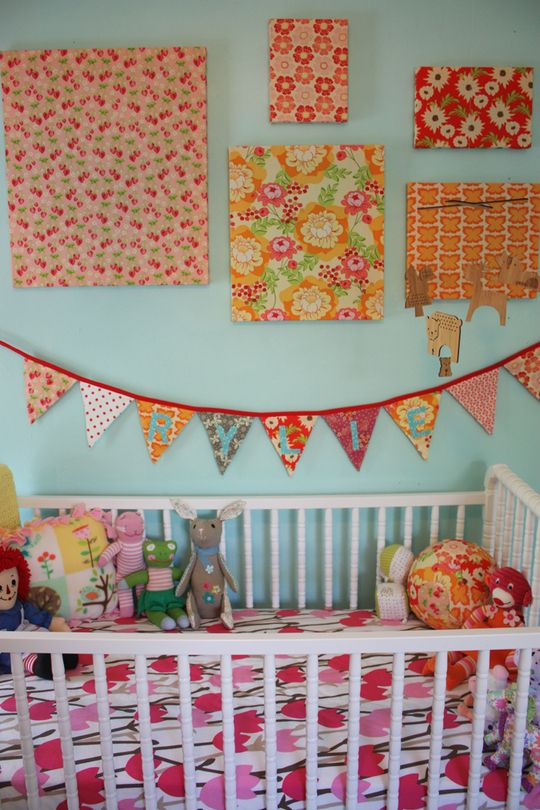 super cute fabric pictures: Wall Colors, Wall Art, Wall Decor, Blue Wall, Baby Rooms, Baby Girls Rooms, Fabrics Covers, Fabrics Wall, Kids Rooms