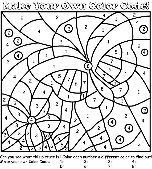 Butterfly color by number coloring page free adult