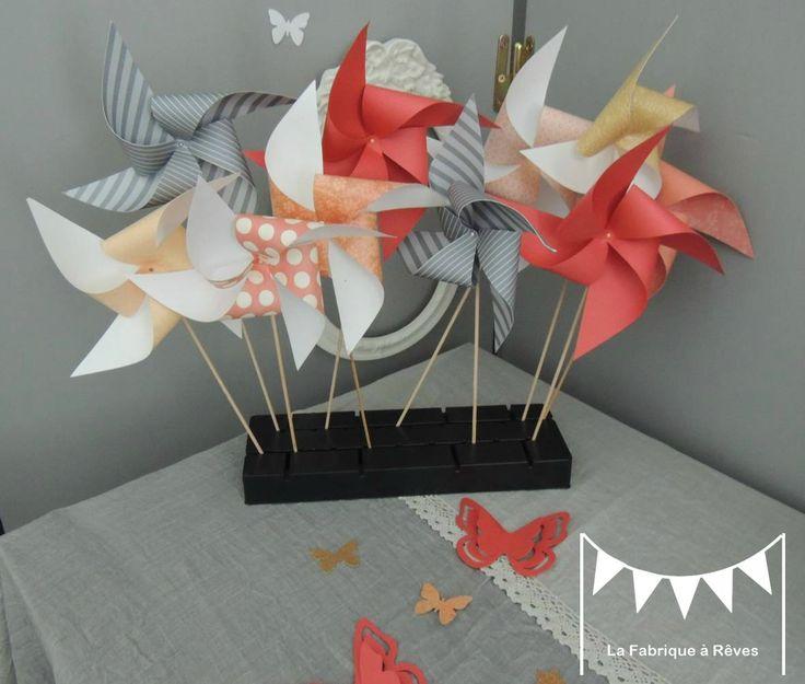 moulins à vent abricot corail pêche doré mariage