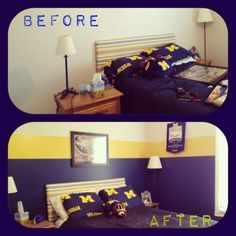 University of michigan themed bedroom google search colts room pinterest michigan for Ohio state bedroom paint ideas