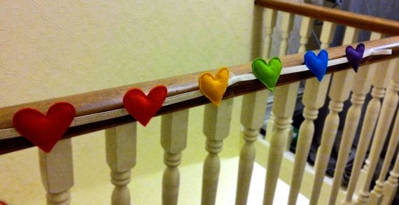 Multicoloured Stuffed Heart Garland by TheCraftieStudent on Etsy