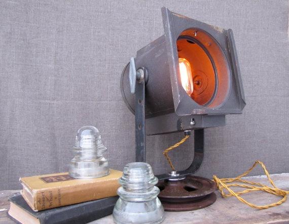 Vintage Stage Light Table Lamp by HbernationRstoration on Etsy, $225.00