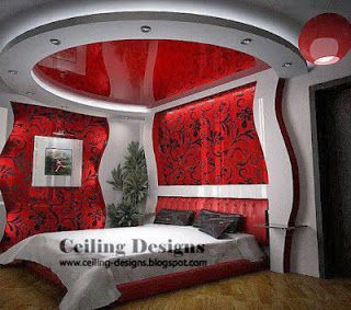 red stretch ceiling designs