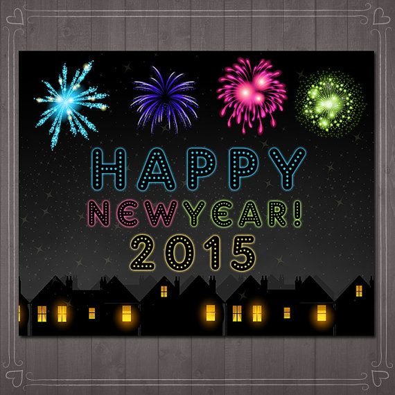Happy New Years Sign Chalkboard Fireworks by ...