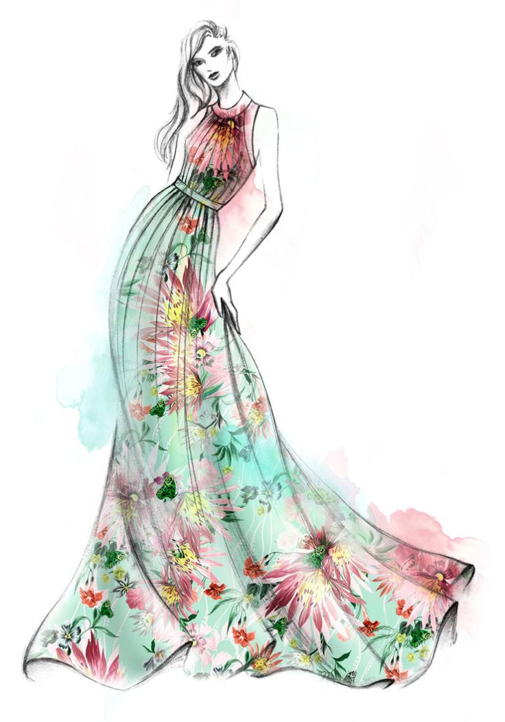 An illustration of the Matthew Williamson Jungle Bloom mint gown. Bountiful blooms on fresh mint green… Hello Spring! An ode to spring illustrated by the studio.