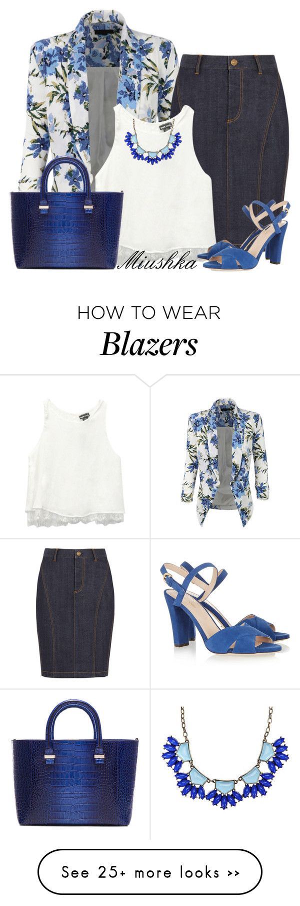 """Denim Skirt & Blazer"" by miushka on Polyvore featuring LE3NO, Burberry, Wet Seal, Sergio Rossi and Victoria Beckham"