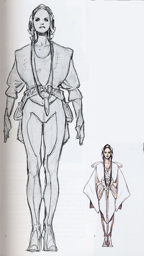 Padme' Amidala Star Wars: Episode II - Attack of the Clones. Flightsuit. http://www.padawansguide.com/padme/flightsuit/padme_flightsuit_concept.jpg