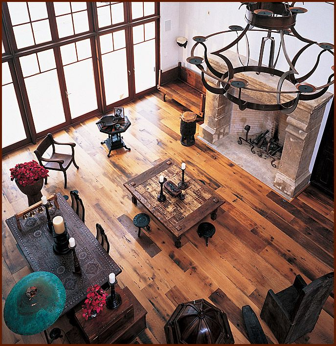 Antique Distressed® Oak Reclaimed Wood Flooring In A Great Room