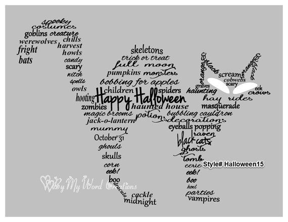 Handmade Halloween Black Cat word art by ByMyWordCreations on Etsy, $20.00
