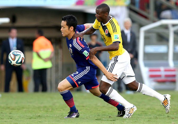 Japan's Maya Yoshida and Colombia's Adrian Ramos chased the ball during Tuesday's match.  #wunplan600, #simplefreedom,http://latino.plan600.com http://plan600.info http//lewiszuluaga.com