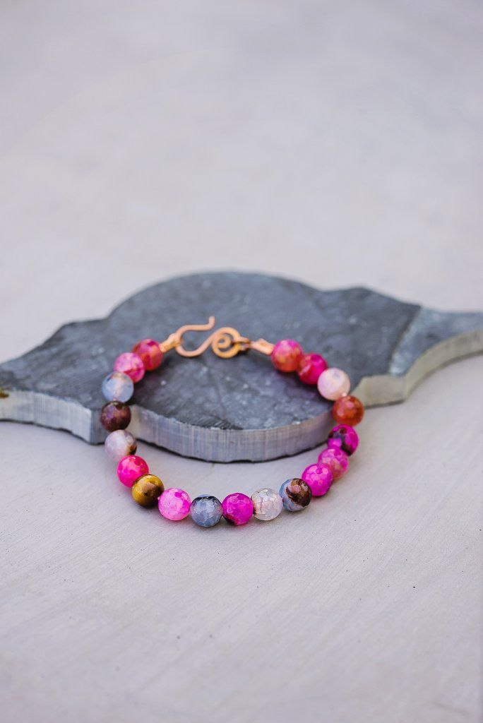 Passion Flower Bracelet, pink agate beads, hemp cord, copper clasp, hot pink, tiger eye