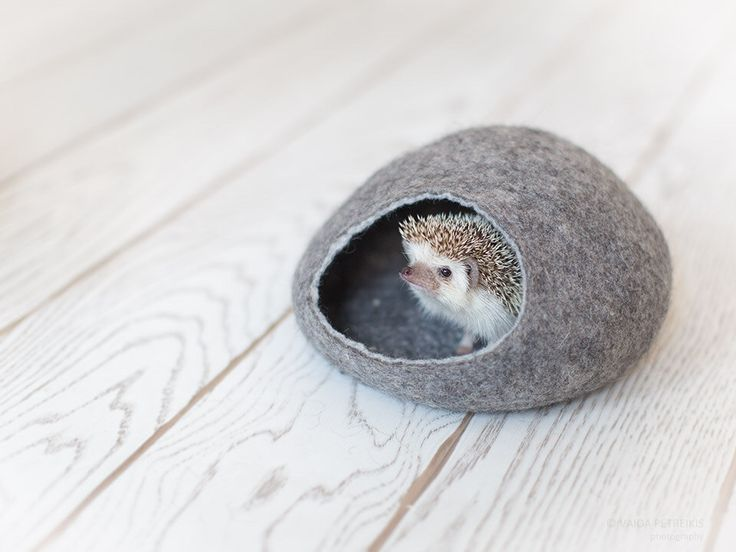 Hedgehog bed / small animal cave / small pet bed / felted pet house / small pet…