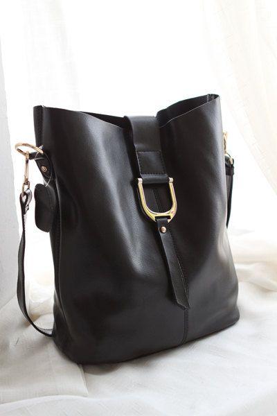 women's black leather laptop shopper shoulder bag Leather Tote by NewBag on Etsy, $79.99
