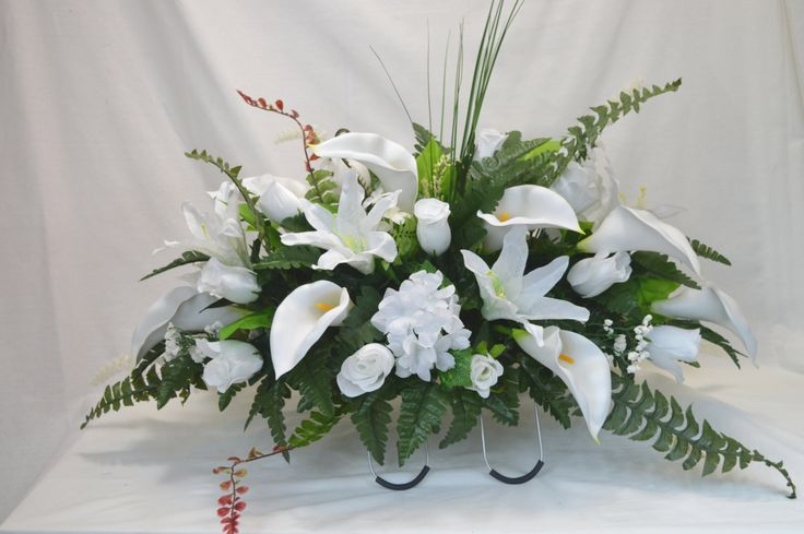 No. 50066 White Lily Cemetery Flower Arrangement  , Headstone saddle, Grave,   Tombstone arrangement,  Cemetery flowers by AFlowerAndMore on Etsy