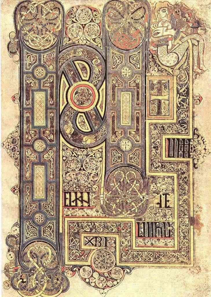 From the book of Mark from the book of Kells medieval illuminated ...
