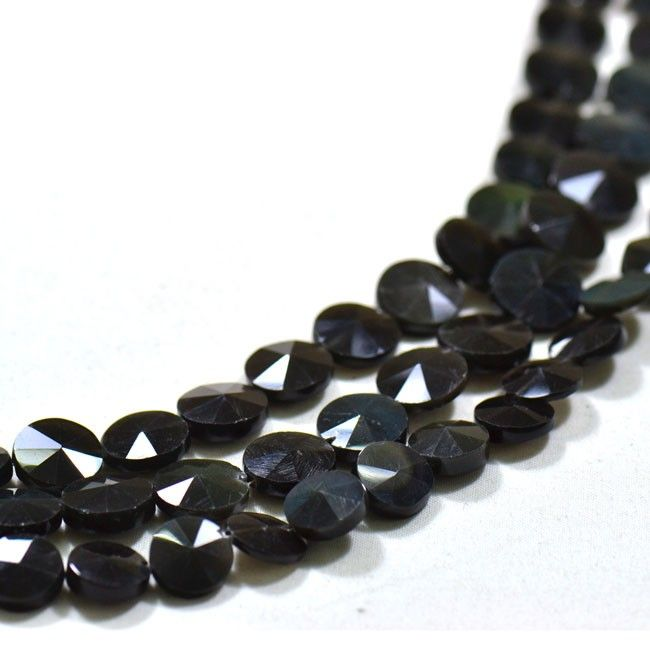 Get the best natural Black Onyx Gemstone beads from Indian Mines. Available in faceted coin shape beads. A bead measures from 9mm to 13mm.