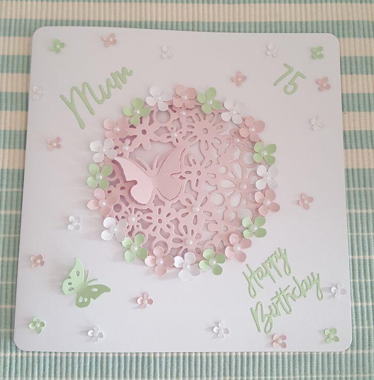Floral cluster die cut card
