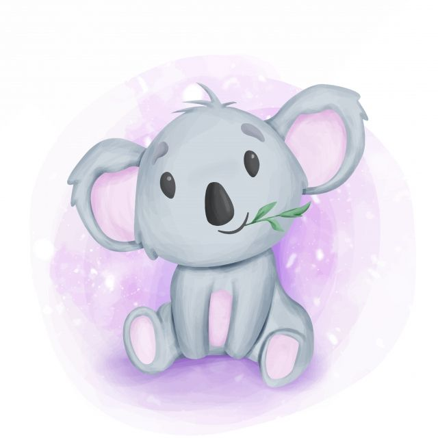 Adorable Koala Sit And Eating Leaf Adorable Animal Art Png And