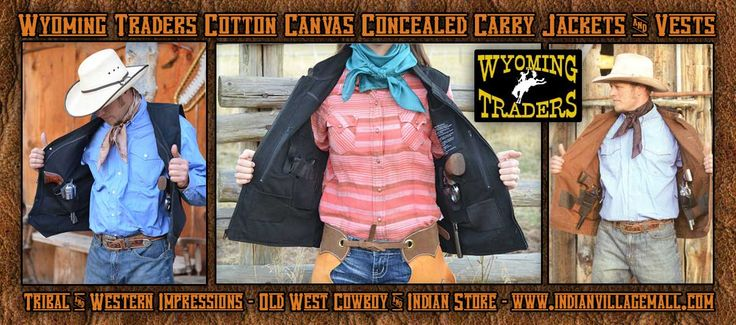 Concealed Carry Vests And Jackets  From Tribal And Western Impressions- Old West Cowboy And Indian Store - www.indianvillagemall.coms