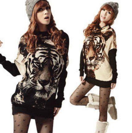 2014 yeni moda bayan kaplan kafası gömlek örme rahat uzun kollu kazak jumper hayvan baskılar sıcak giysiler ücretsiz kargo $9.49