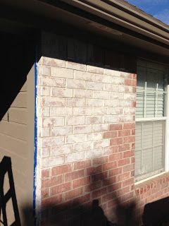 DIY Exterior White Washed Brick