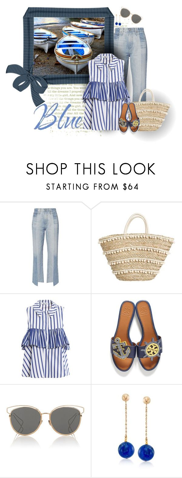 """Boats Near the Shore"" by seafreak83 ❤ liked on Polyvore featuring AG Adriano Goldschmied, Dondup, Tory Burch, Christian Dior and Ross-Simons"