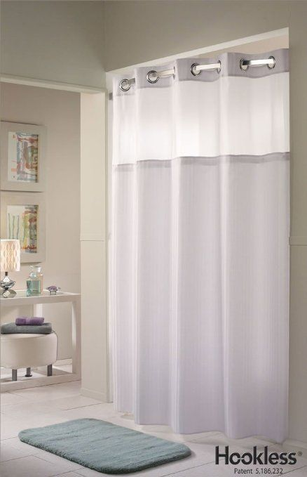 White Double H HooklessR Shower Curtain