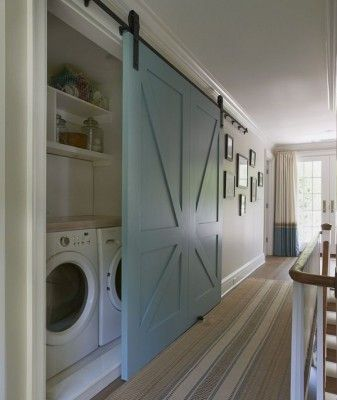 LOVE the laundry room sliding barn door idea if you have one off a hallway. That way you don't have to worry about doors sticking out while open. Looks great and VERY practical!