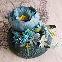 Новый Дизайн Бирюзовый Sinamay База Ткань Цветок Белье Top Hat Невеста Партия Шоу Моды Sinamay Чародей Свадебная Фата Волос Клип