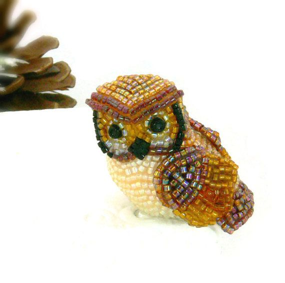 Owl Miniature Figurine Beaded Horned Owl Stocking Stuffer Animal Totem *READY TO SHIP