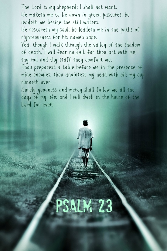"""""""Psalm 23 I love this scripture!!!  This was moms favorite,  God took her home early this morning 5/5/2013"""". ^ Wow. Came a bit undone when I read that. I can't imagine losing my mom. Anyhow, this is one of if not my number one favorite scripture passage of all time. I can't believe that I'd forgotten it for so long..."""