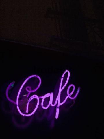 Cafe, neon lettering, Paris, France.