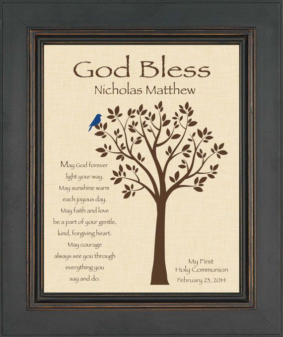 This personalized Communion Print is the perfect gift!  It makes a beautiful keepsake when framed and placed in their room! This is an 8x10