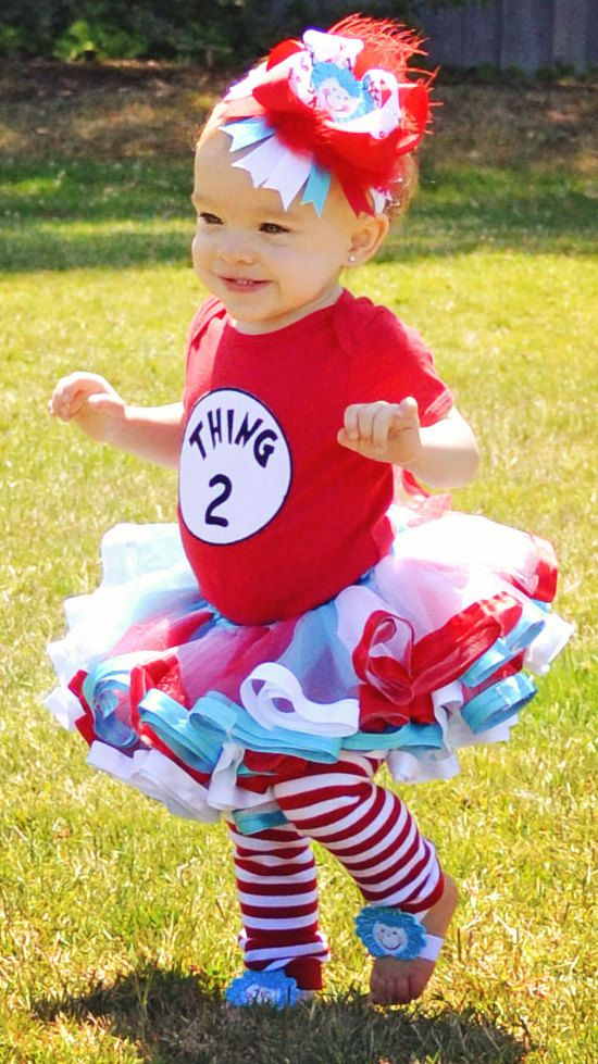 Thing 1 or Thing 2 Dr. Seuss Inspired Tutu Set- Includes Tutu Skirt, Embroidered Onesie or Shirt, Barefoot Sandals and Matching Bow. $73.00, via Etsy.