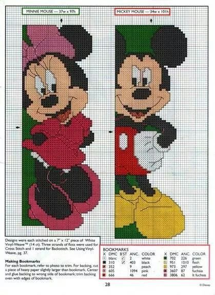 Schema segnalibro minnie mickey puntocroce crossstitch