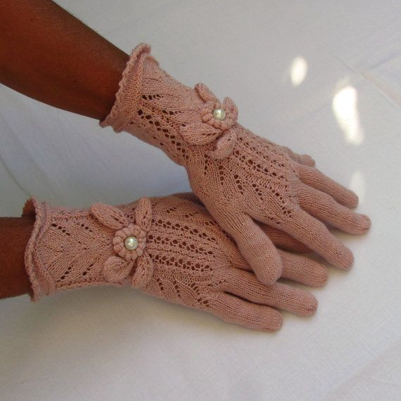 Bright Pink Elegant Vintage Victorian Lace Gloves  by by domklary, $35.00