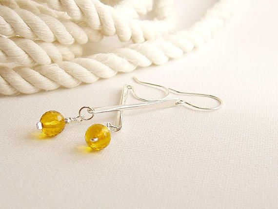 Sterling Silver Citrine Earrings Hammered Silver Long Drop