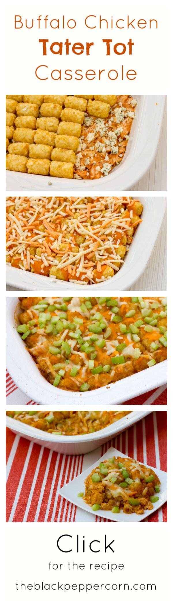 Buffalo Chicken Tater Tot Casserole- my mouth is seriously watering