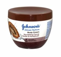 Johnsons African Nurture Body Cream 300ml Cocoa Butter & Honeybush For 24 hours moisturisation with vitamin E & glycerin  Inspired by Africa, the new Johnson's African Nurture range gently helps to restore the natural beauty of your skin leaving it soft and glowing, And it helps refresh your skin by restoring the moisture balance.