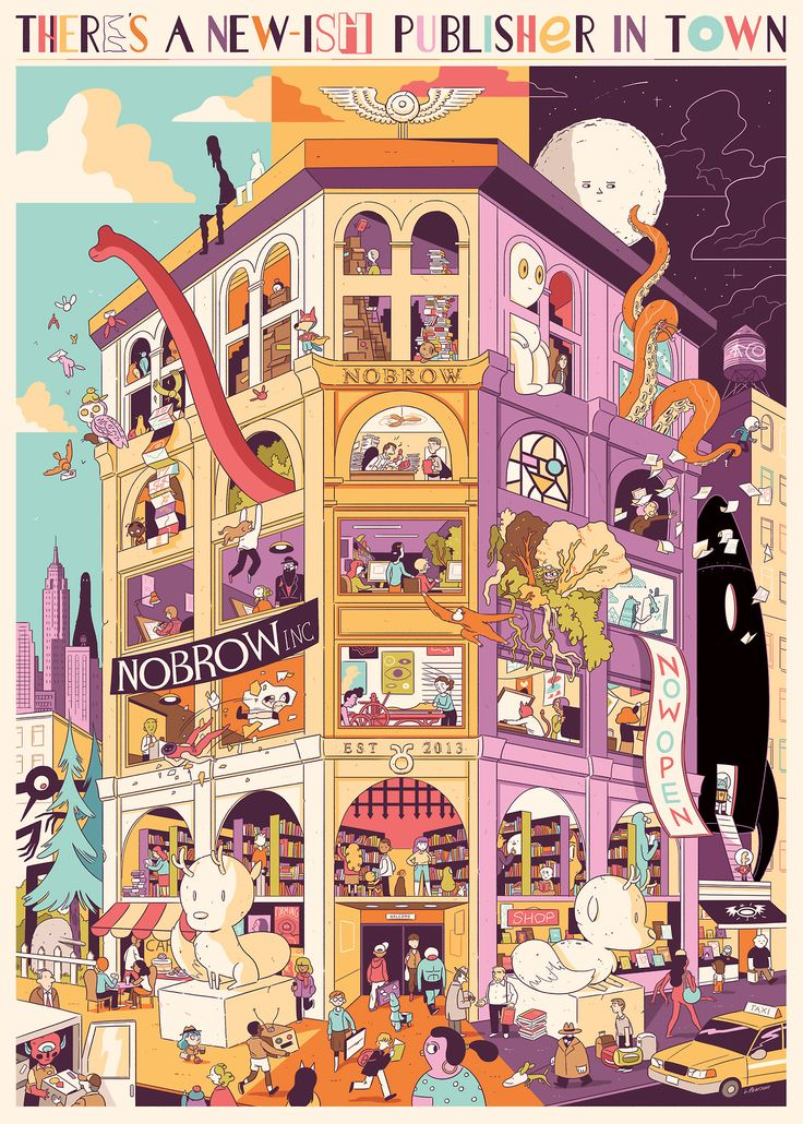 nobrowpress commissioned Luke Pearson to do this poster to celebrate the opening of their new NY office.