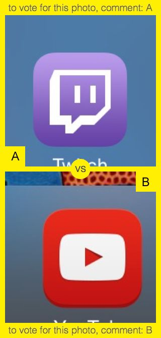 To vote for top photo comment A, to vote for bottom photo comment B. See results at http://swingvoteapp.com/#!polls/1444. Click here http://swingvoteapp.mobi/ to install Swingvote mobile app and create your own polls.