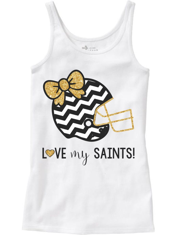 A personal favorite from my Etsy shop https://www.etsy.com/listing/248453526/girls-saints-shirt-new-orleans-saints