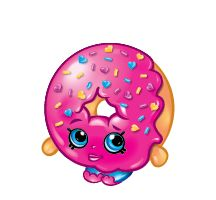 D'lish Donut (Shopkins 1-035, 1-042) D'lish Donut is a dark pink donut with light pink lips. She is coated with blue heart sprinkles. Her variant is colored brown. D'lish Donut is an ultra rare Bakery Shopkin from Season One.