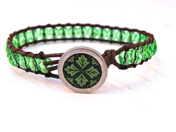 Four Leaf Clover Medallion Green Leather Wrap Bracelet// Boho Spring Irish Chic/ Free Shipping