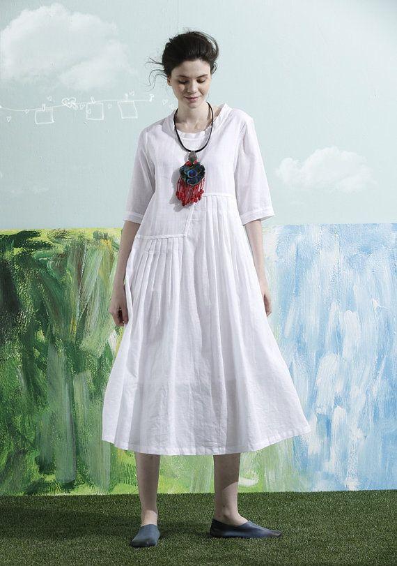 stijlvolle trenchcoat jurk linnen maxi jurk lange door camelliatune