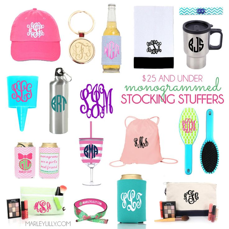 Monogrammed Stocking Stuffers from Marleylilly.com! All items UNDER $25!!