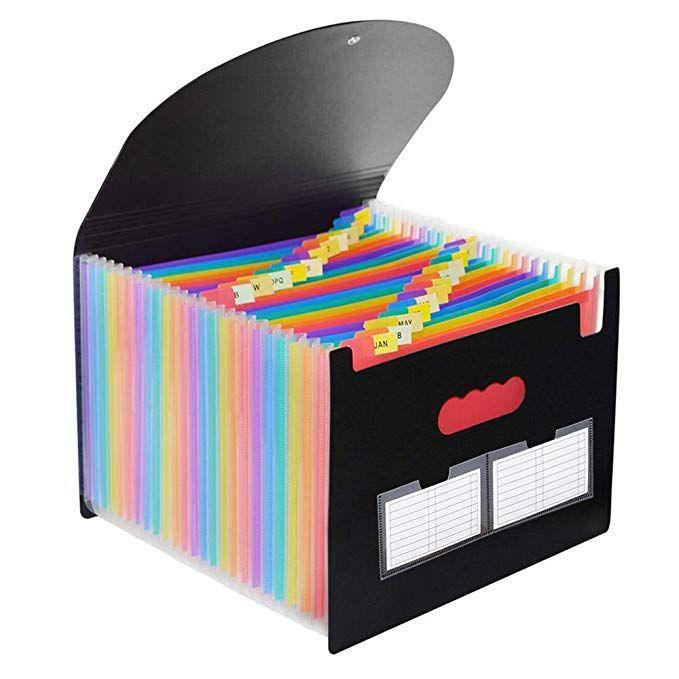 24 Pockets Expanding File Folder With Cover Expandable Accordion File Organizer Portable Plastic Multi Colour Lar Document Holder Letter Paper File Organiser